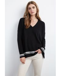 Velvet By Graham & Spencer Stormy Double Stripe Cashmere Sweater black - Lyst