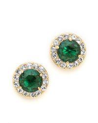 Kate Spade - Basket Pave Stud Earrings Emerald - Lyst