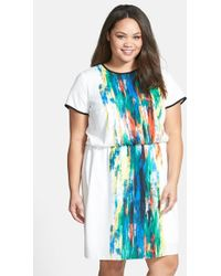 Vince Camuto Print Blouson Dress - Lyst