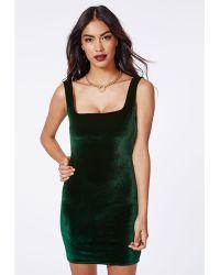 Missguided Pipin Velvet Bodycon Dress Deep Green - Lyst