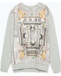Zara Printed Sweatshirt gray - Lyst