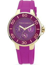 Vince Camuto Purple Silicone Strap Watch 41mm