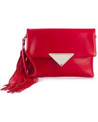 Sara Battaglia Teresa Large Leather Clutch - Lyst