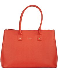 Furla Linda Leather Tote red - Lyst