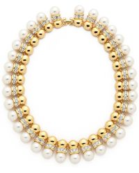 Kenneth Jay Lane Imitation Pearl Collar Necklace - Pearl - Lyst