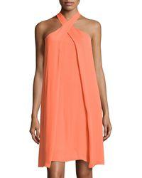 Halston Heritage Crossover Slit-draped Halter Dress - Lyst