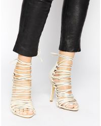 Pieces - Sophie Nude Multi Strap Heeled Sandals - Lyst