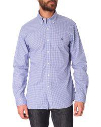 Polo Ralph Lauren Slim-Fit Pr Poplin Blue Multi-Vichy Pattern Shirt - Lyst