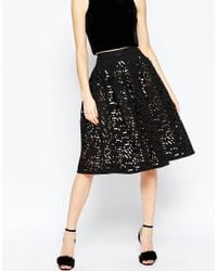 ASOS | Full Midi Skirt With Laser Cutting | Lyst