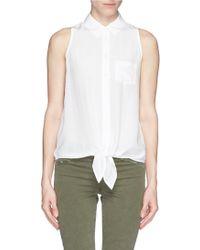 Equipment 'Mina Tie Front' Silk Sleeveless Shirt white - Lyst