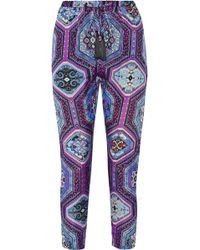 Emilio Pucci Printed Silk Charmeuse Tapered Pants - Lyst