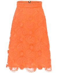 House of Holland Midi A- Line Skirt Orange - Lyst