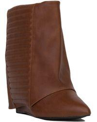 AKIRA Short Foldover Covered Wedge Booties - Cognac - Brown