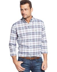 Lacoste Big and Tall Long-sleeve Plaid Shirt - Lyst