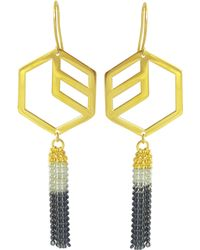 Anna Byers - Hex Tassel Earrings Gold Vermeil - Lyst