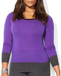 Ralph Lauren Lauren Plus Cashmere Color Block Sweater - Lyst