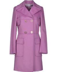 Versace Purple Coat - Lyst