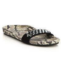 Pedro Garcia | Addie Embellished Snake-embossed Leather Slides | Lyst