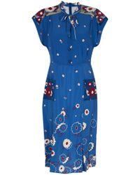 Anna Sui Daisy Silhouette Print Short Sleeve Dress blue - Lyst
