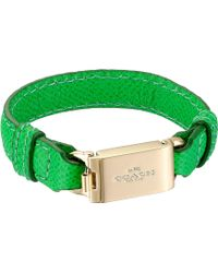 Coach Leather Horse And Carriage Id Bracelet green - Lyst