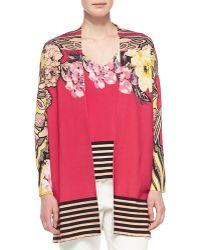 Etro Floral Cardigan W Striped Hem - Lyst