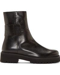Maison Martin Margiela Black Brushed Leather Ankle Boots - Lyst