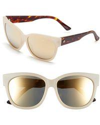 Electric 'danger Cat' 58mm Retro Sunglasses - Nude Tort/ Grey Gold Chrome - Metallic