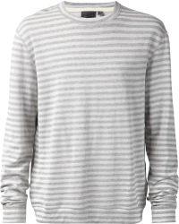 Naked & Famous Striped Cotton-Blend Jumper - Grey