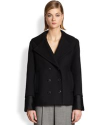 Alexander Wang | Satin & Knit-Trimmed Double-Breasted Peacoat | Lyst