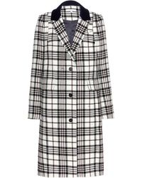 Carven Checked Wool Coat - Lyst