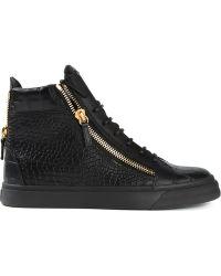 Giuseppe Zanotti Zip Detail Hi-top Sneakers - Lyst