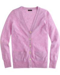 J.Crew Collection Cashmere Boyfriend Cardigan Sweater purple - Lyst