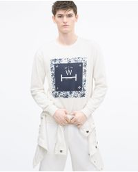 Zara Printed Sweatshirt blue - Lyst