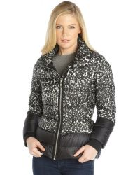 Moncler Black Printed Nylon Colorblock Ysaline Puffer Jacket - Lyst