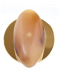 Marni - Taupe Oval Horn Ring - Lyst