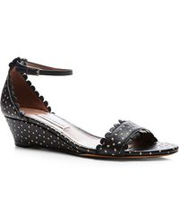 Tabitha Simmons Juniper Black Perforated Leather Wedge Sandals - Lyst