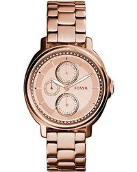 Fossil Chelsey Three-Sub Dial Stainless Steel Bracelet Watch - Rose Goldtone - Lyst