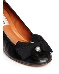 Lanvin Pearl Grosgrain Bow Elasticated Leather Pumps black - Lyst