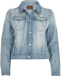 River Island Light Wash Denim Jacket - Lyst