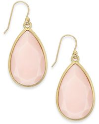 Kate Spade New York Gold-tone Pink Epoxy Stone Teardrop Earrings - Lyst