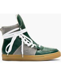 Kris Van Assche Green Leather Overlong Laces High_top Sneakers - Lyst