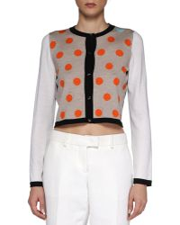 Fendi Dotted Cropped Knit Cardigan - Lyst