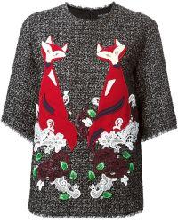 Dolce & Gabbana Lace Foxes Appliqué Top - Lyst