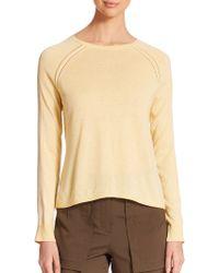 Halston Heritage Silk-Contrast Sweater khaki - Lyst