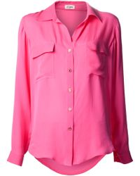 L'Agence Pocket Classic Collar Blouse - Lyst