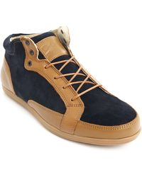 Piola Slippery Elm Navy Suede And Camel Leather Chukkas - Lyst
