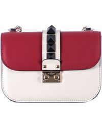 "Valentino Red White And Black Leather ""Lock"" Small Bag - Lyst"