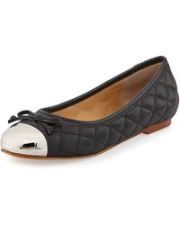 Andrew Stevens Lalo Quilted Metallic Cap-Toe Ballet Flat - Lyst