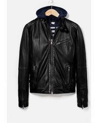 Mango Man Leather Biker Jacket - Lyst