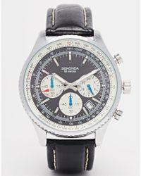 Sekonda Chronograph Leather Strap Watch - Lyst